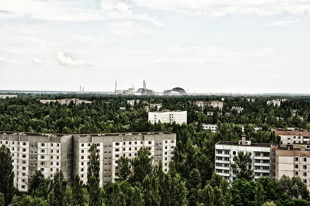 pohled na Černobyľ