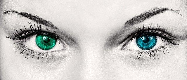 modré a zelené oko